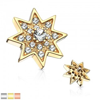 Surgical steel internally thread star dermal top