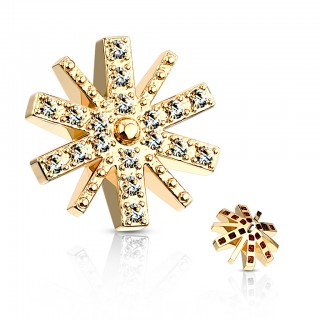 Coloured snowflake dermal top with clear crystal – Gold