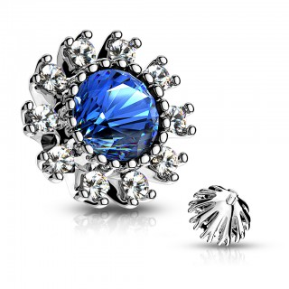 Dermal top with coloured crystal and clear crystal flower petals – Blue
