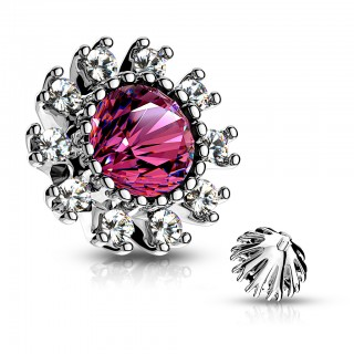 Dermal top with coloured crystal and clear crystal flower petals – Pink