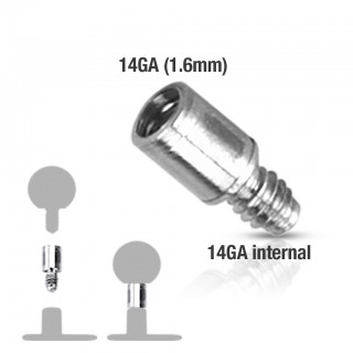 Surgical steel internally threaded post extension of 4mm