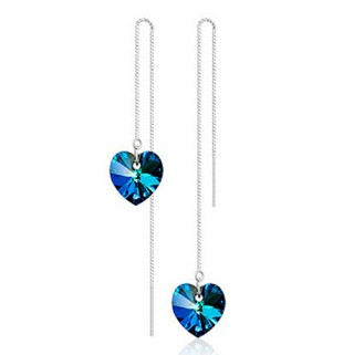 Long ear chains with blue crystal heart
