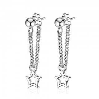 Ear studs with chain star dangle pendant