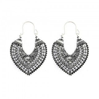 Silver coloured ear hoops with decorted filigree
