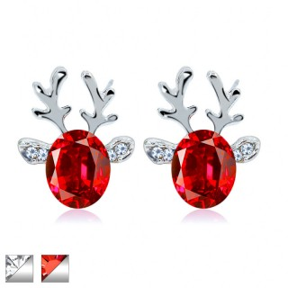 Reindeer shaped ear stud with big coloured crystal