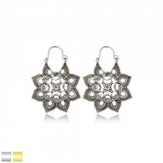 Antique six pointed flower shaped antique earrings