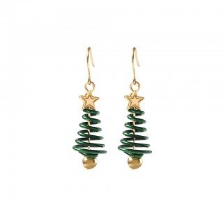 Pair of christmas swirl trees ear drops
