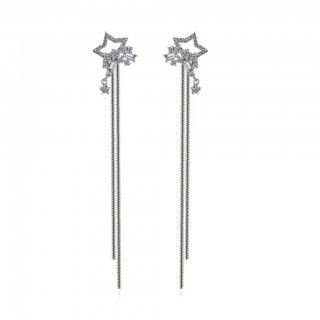Pair of ear studs with crystal stars and long bars