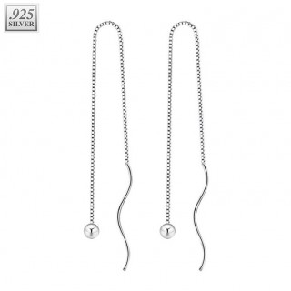 Sterling silver ear chains with ball and curved bar