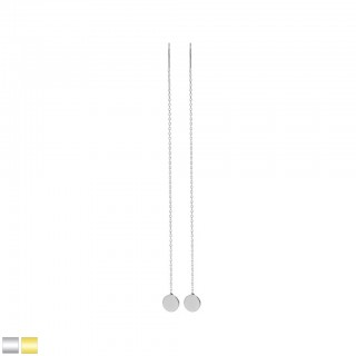 Coloured long ear dangles with flat disc