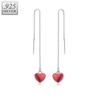 Pair of sterling silver threader earrings with red hearts