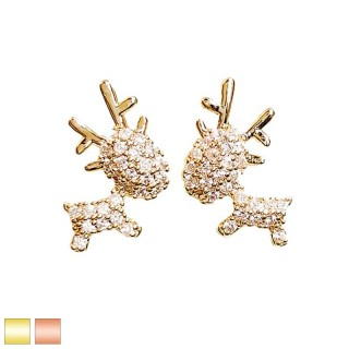 Pair coloured earstuds with clear crystal paved deer