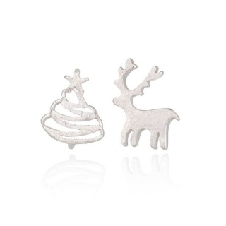 Silver ear studs with christmas tree and deer