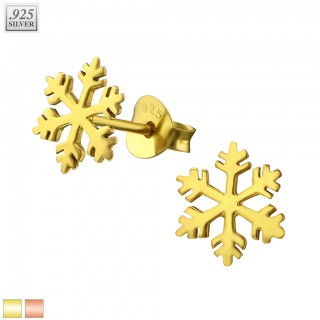 Pair of coloured snowflake ear studs of sterling silver