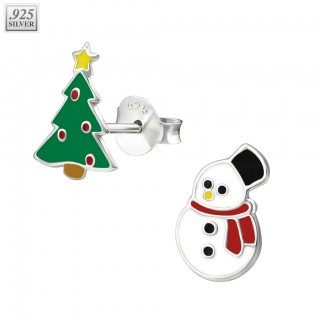 Silver ear studs with christmas tree and snowman