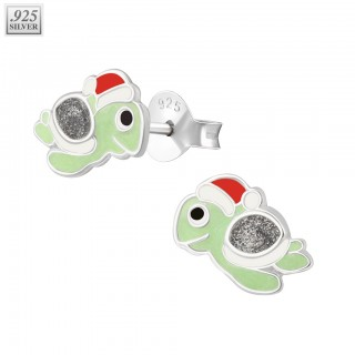 Pair of silver ear studs with christmas turtle