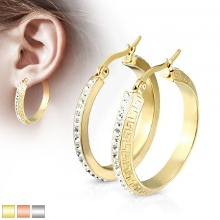 Pair of earrings with crystals with a maze pattern rim