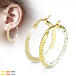 Pair of earrings with maze pattern and inner crystal ring