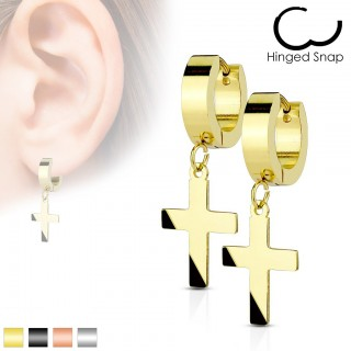 Pair coloured earrings with big dangling cross