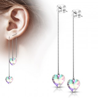 Threader Earrings with Heart-shaped Iridescent crystal