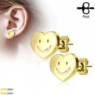 Pair of earrings with smiley in heart