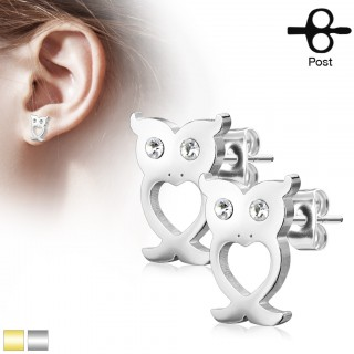 Set of earrings with clear crystal-eyed owl