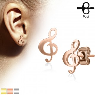 Pair coloured ear studs with music clef