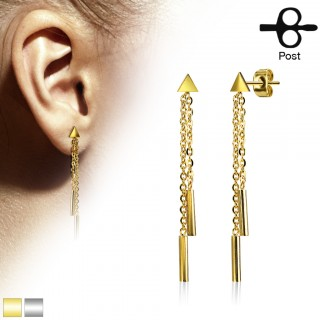 Pair coloured ear studs with 2 dangling chains