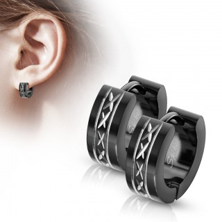 Pair of black wide hinge hooped earrings with dia-cut