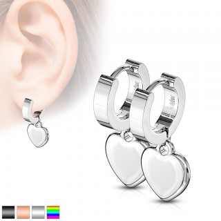 Coloured pair ear rings with shiny clear crystals