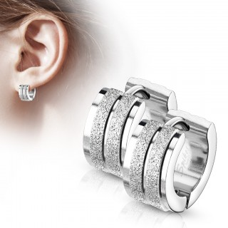 Pair of sandblasted centered grooved silver hinged hooped earrings