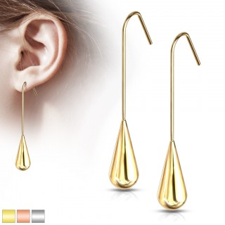 Pair of long teardrop hanging steel hook earrings
