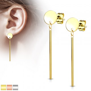 Pair of long stud earrings with dangling bar and round plate