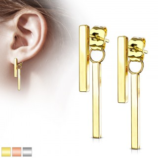 Pair of long stud earrings with dangling bar on butterfly clasp