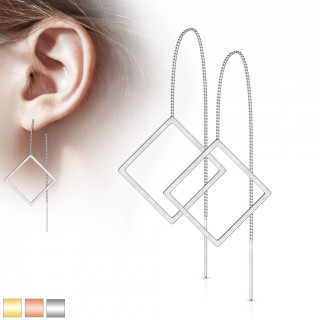 Pair of coloured threader earrings with open diamond