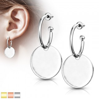 Pair of hoops with flat dangling disc