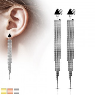 Pair of ear studs with triangle and multiple chain dangles