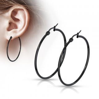 Pair black round ear hoops in 14 lengths