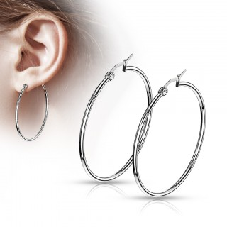 Pair of thin silver hooped earrings