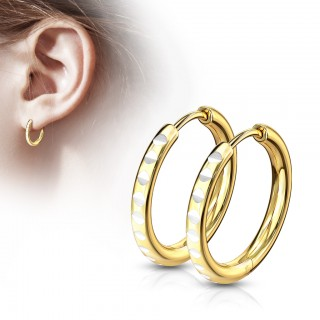 Pair of thin rounded cut gold hooped earrings