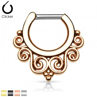 Septum clicker with tribal swirls