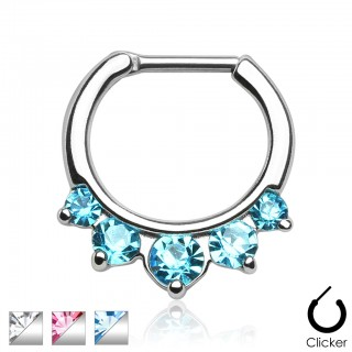 Septum ring with five coloured crystals