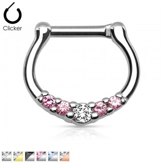Septum clicker with crystals