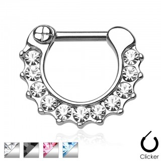 Septum clicker with gemstones