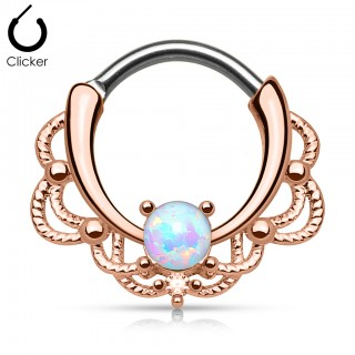Rose gold septum piercing with prong set opal