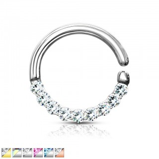 Coloured bendable piercing ring with coloured crystals