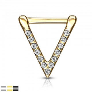 Coloured triangle septum clicker with clear crystals