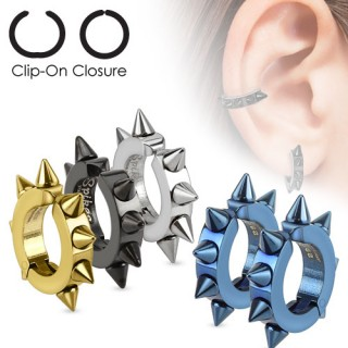 Pair of clip on earrings in neon colours with spikes