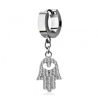 Helix huggie with dangling hamsa design with crystals