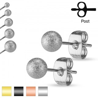 Pair of ear studs with Sand Blast layer